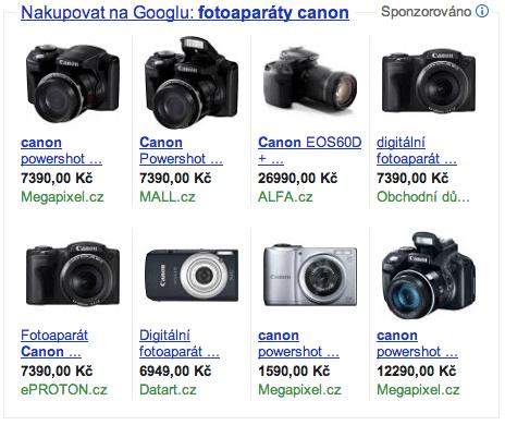 Product Listing Ads: fotoaparáty canon