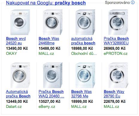 Product Listing Ads: pračky bosch