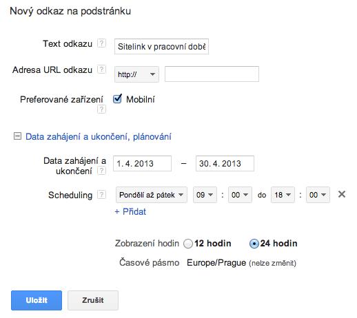 Sitelinky - scheduling