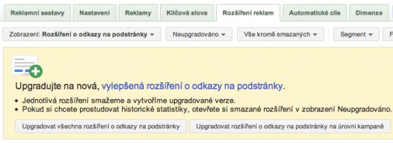 Sitelinky - upgrade