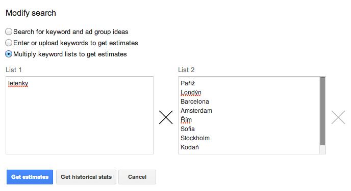Keyword Planner - multiply keywords lists