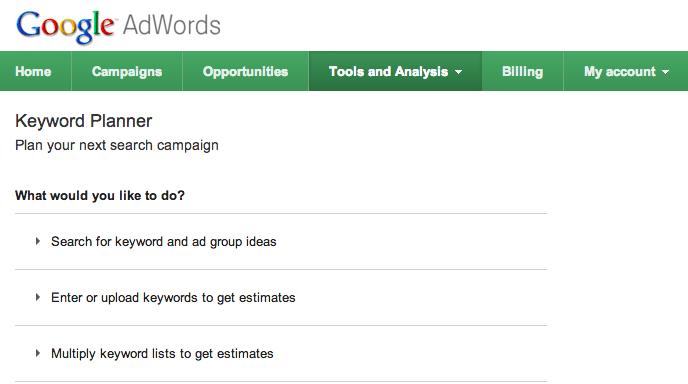 Keyword Planner Tool