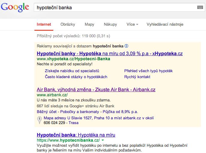 Hypoteční banka - brand search