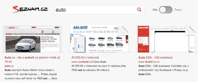 """Seznam vyhledávání - """"auto"""""""