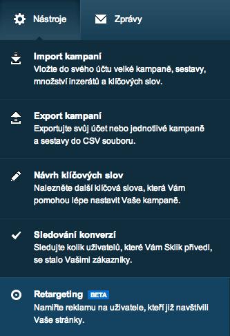 Sklik retargeting - menu Nástroje