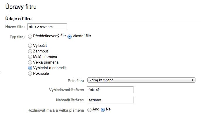 Automatické tagování Sklik - Úprava filtru