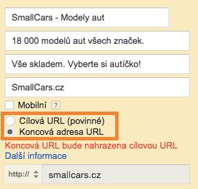 AdWords - koncová URL